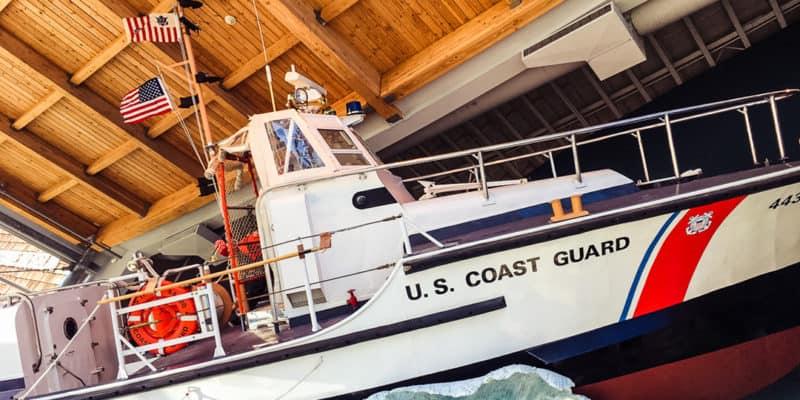 U.S. Coast Guard Ship on fake waves on display inside the maritime museum