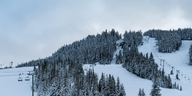 view of cloudy skies above snowboarding slopes lined with snow covered evergreen trees