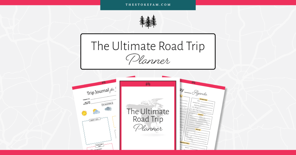 pink and teal graphic promo for printable road trip planner