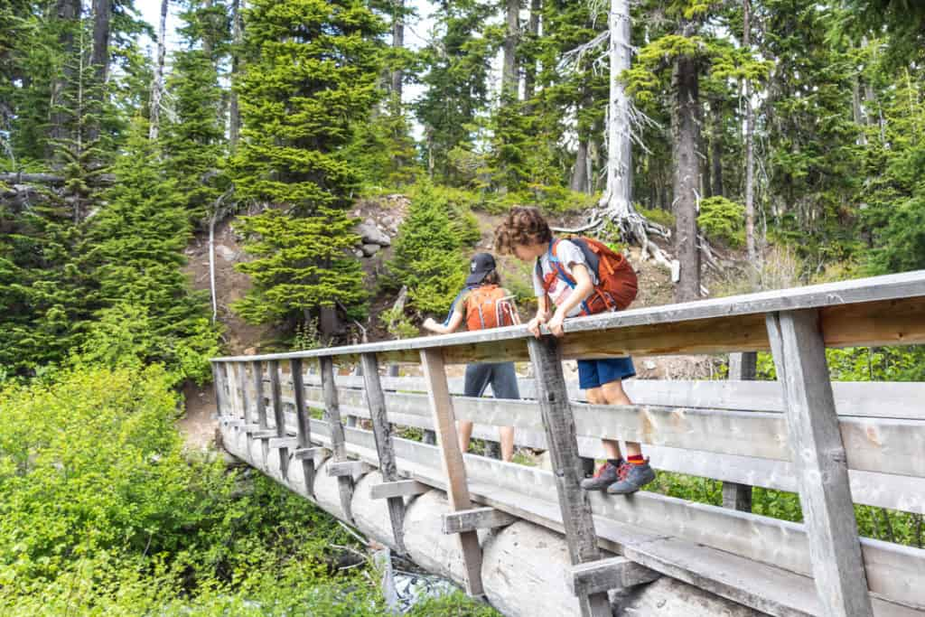 two boys on bridge in woods wearing orange backpacks, one standing on bridge railing to look over the side while the other boy walks forward